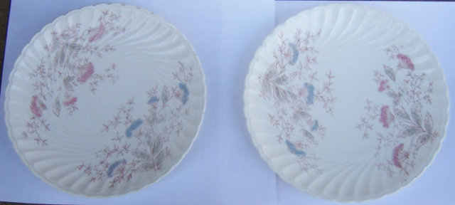 Carlsbad Austrian China Plates w/ Pink and Blue Flowers