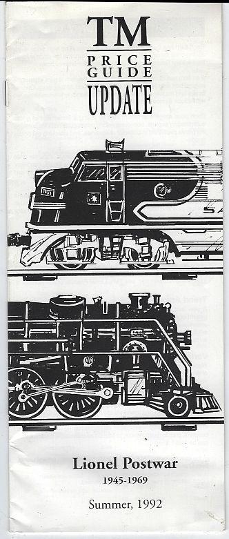 Lionel Postwar 1945-1969 Summer 1992 Tm Price Update by Tom McComas