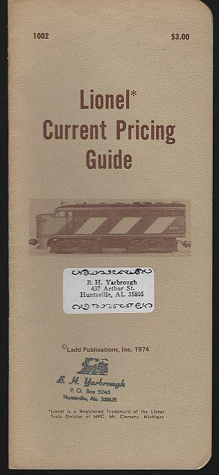 Lionel Current Pricing Guide 1974 Ladd Publication