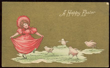 Happy Easter Postcard Little Girl Dancing With Chicks