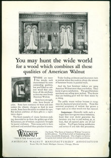 American Walnut Age 1925 Magazine Advertisement