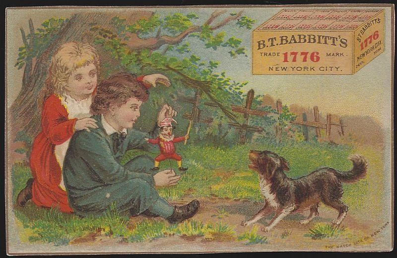 Victorian Trade Card for B.T. Babbitt's Yeast with Girl and Boy Playing with Dog