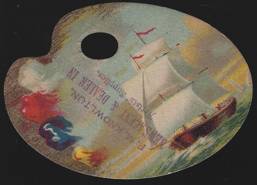 Victorian Artist Palette Die Cut Card with Sailing Ship from F.M. Knowlton