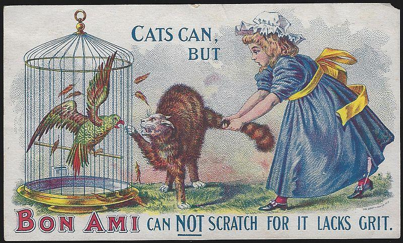 Victorian Trade Card for Bon Ami with Girl and Cat Who Scratches and Parrot
