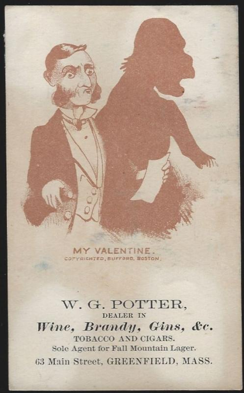 Victorian Trade Card for W.G. Potter Dealer in Liquor with Man and His Valentine