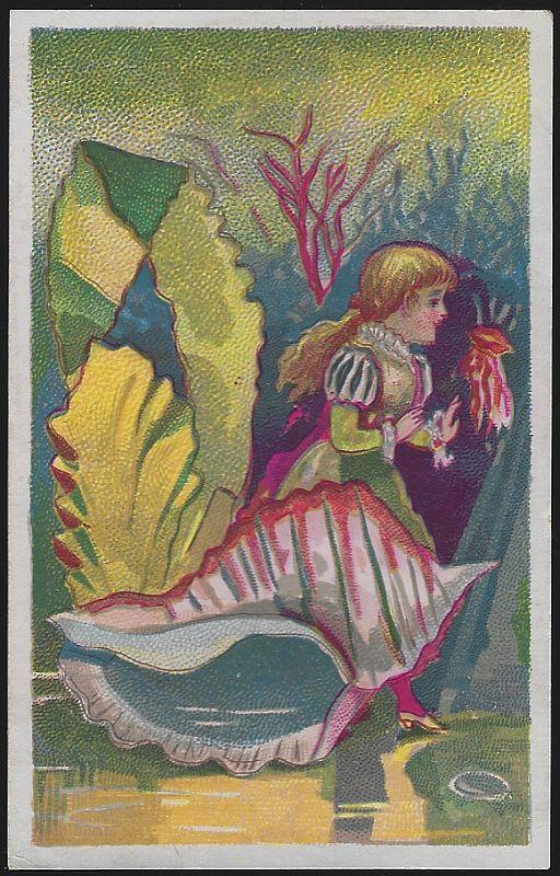 Victorian Trade Card for Bluine with Girl and Sea Shells