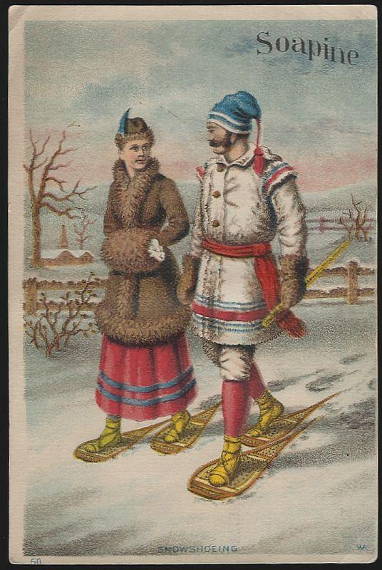 Victorian Trade Card for Soapine with Couple Snowshoeing