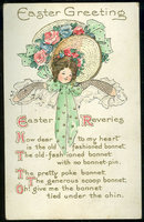 Easter Postcard with Young Girl and Her Bonnet 1912