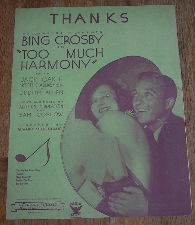 Thanks From Too Much Harmony Starring Bing Crosby 1933 Movie Sheet Music