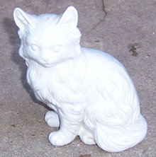 Vintage China Gray Fluffy Sitting Cat Figurine