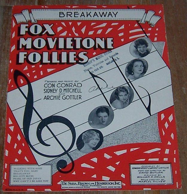 Breakaway From The Fox Movietone Follies 1929 Sheet Music