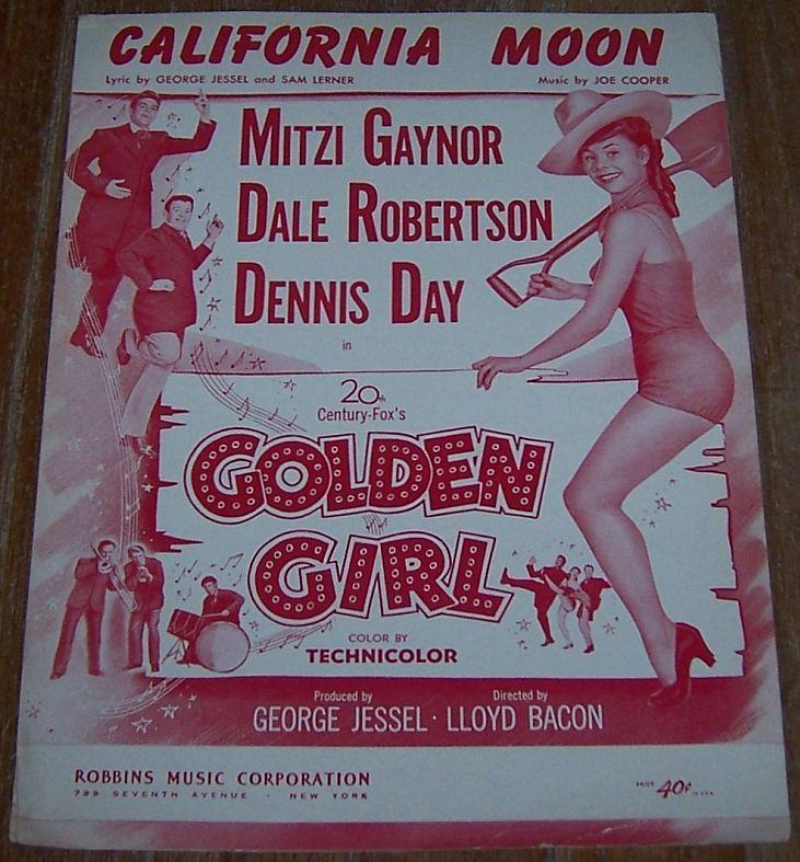 California Moon From Golden Girl Starring Mitzi Gaynor 1951 Sheet Music