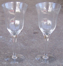 Pair of Vintage Crystal Stemmed Cordial Glasses