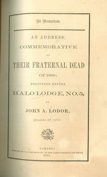 In Memoriam Address Commemorative of Their Dead 1860