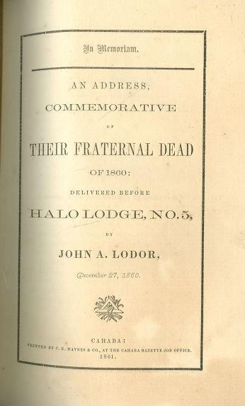 In Memoriam Address Commemorative of Their Dead 1860