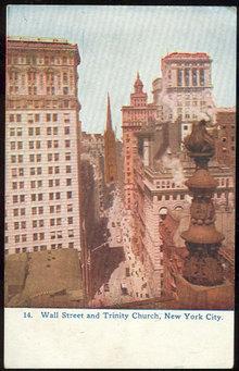 Postcard Wall Street and Trinity Church New York City