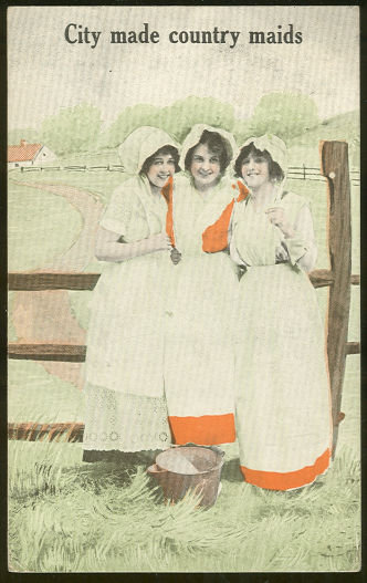 Postcard of Three Lovely City Made Country Maids 1916