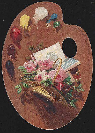 Victorian Artist Palette Die Cut Card with Basket of Roses