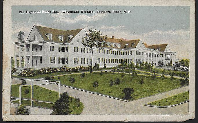 Vintage Postcard of Highland Pines Inn, Southern Pines, North Carolina 1921