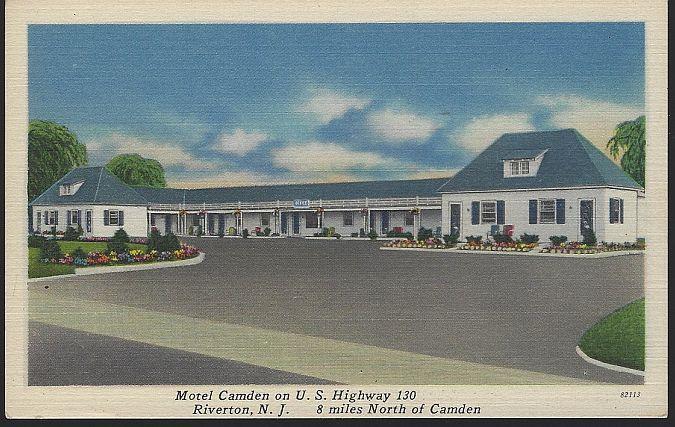 Vintage Postcard of Motel Camden, Highway 130, Riverton, New Jersey AAA 1956