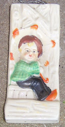 Vintage Pottery Little Boy with Umbrella Wall Pocket