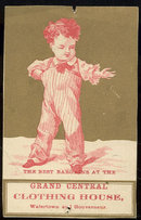 Grand Central Clothing New York Victorian Trade Card