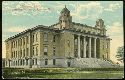 Postcard of Carnegie Library, Syracuse University, Syracuse, New York