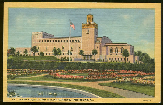 Postcard of Zembro Mosque, Harrisburg, Pennsylvania