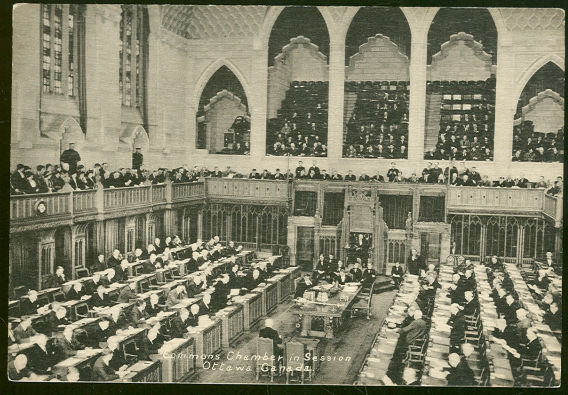 Postcard of Commons Chamber in Session, Ottawa, Ontario, Canada