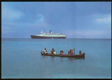 Postcard of Sun Line Stella Solaris with Native Canoe