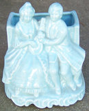 Vintage Blue Pottery Colonial Courting Couple Planter