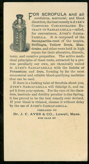 Ayer's Sarsaparilla Purifies Blood Victorian Trade Card