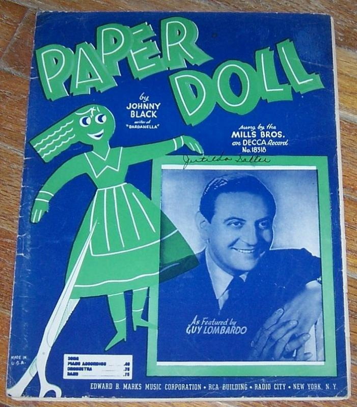 Paper Doll Featured by Guy Lombardo Sung by Mills Bros. 1942 Sheet Music