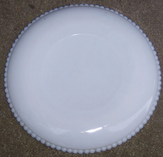 Westmoreland Beaded Edge Milk Glass Plate with Plums