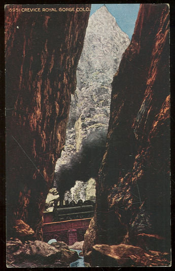 Postcard of Train Through Crevice Royal Gorge, Colorado