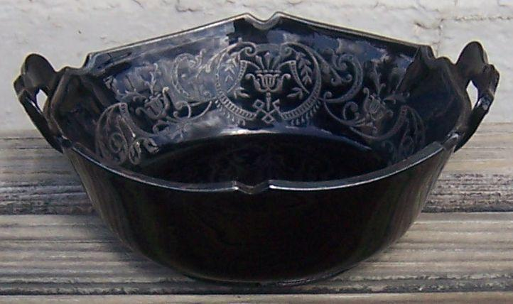 Vintage Black Amethyst Glass Serving Dish Two Handles Classical Silver Overlay