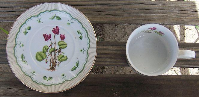 Vintage George Briard Victorian Garden Cup and Saucer Cyclamen Flower Gold Trim