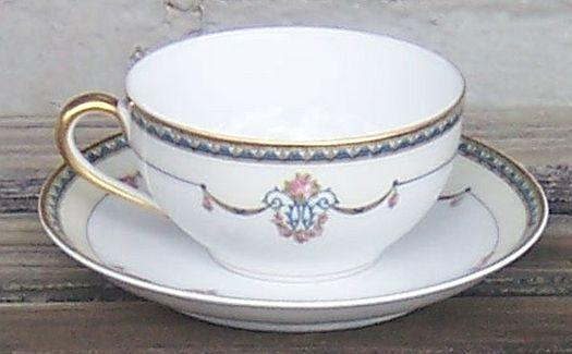 Vintage Noritake China Laureate Cup and Saucer with Garland Swags and Gold Trim
