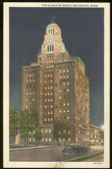 Postcard of Clinic by Night, Rochester, Minnesota