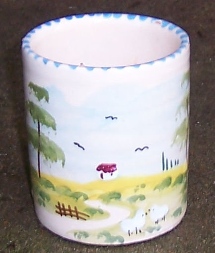 Texas Pottery Coffee Mug Handpainted Pastoral Scene