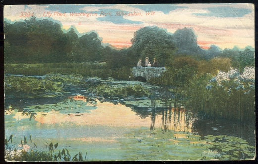 Postcard of Lily Pond, Washington Park, Milwaukee, Wisconsin