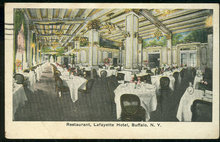 Restaurant La Fayette Hotel, Buffalo, New York 1919 Postcard