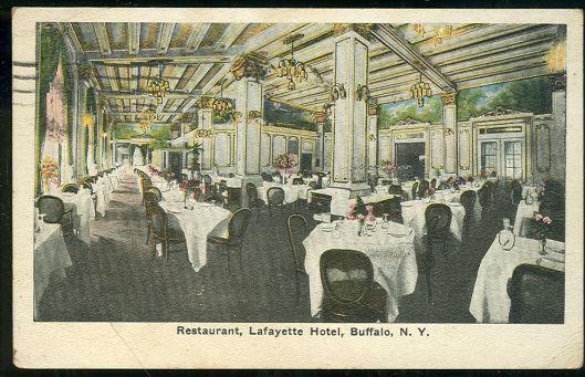 Restaurant La Fayette Hotel, Buffalo, New York 1919 Postcard