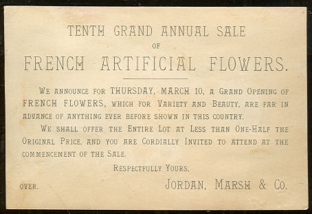 French Artificial Flowers Victorian Trade Card