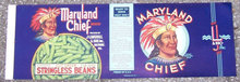 Vintage Maryland Chief Green Stringless Beans Can Label