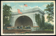 Postcard of Band Stand, Public Park, Rochester, MN 1923