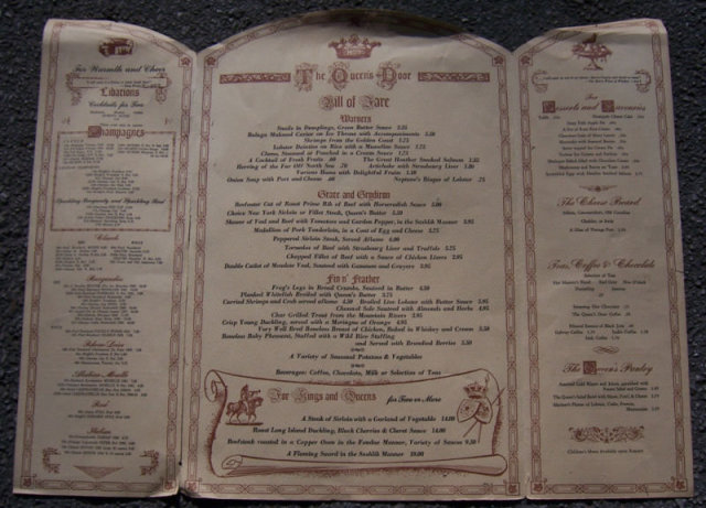 Vintage Menu for Queen's Table, Niagara Falls, Canada