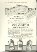Colgate's Talc Powder Talcogram 1916 Advertisement