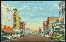Postcard Noble Street Looking North Anniston, Alabama