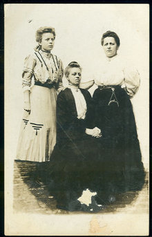 Real Photo Postcard of Grandmother, Mother and Daughter